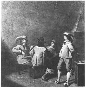 Rokende en kaartende soldaten in een interieur