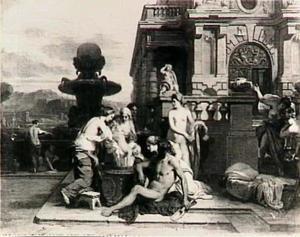 Thetis doopt Achilles in het water van de rivier de Styx