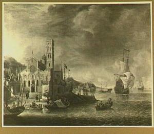 Een Hollandse koopvaarder voor een gefantaseerde haven met de Mariakerk van Utrecht