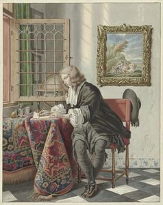 Briefschrijvende jongeman in een interieur