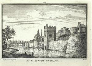 Gezicht op de stadswal van Utrecht met van rechts naar links bastion Zonnenburg, de Servaastoren, het Agnietenklooster, de zuidelijke toren van de Nicolaïkerk en bastion Manenburg