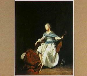Een jonge vrouw met een viola da gamba in haar hand