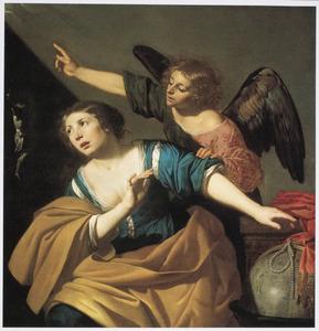 Maria Magdalena keert zich af van de wereld: allegorie op het katholieke geloof