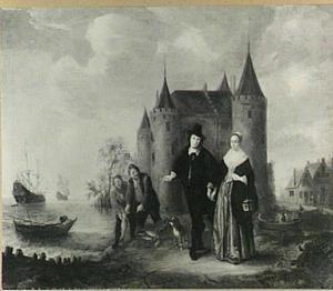 Portret van een echtpaar voor het Muiderslot, ten onrechte geïdentificeerd als Coenraed Burgh (1619-1699) en Christine Hooft (1628-1681)