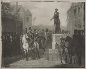 De onthulling van het standbeeld van koning Willem II op het Buitenhof te Den Haag op 23 maart 1854