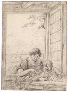 Moeder met zoontje aan tafel bij een geopend venster