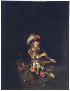Homo bulla; een bellen blazende jongen in een venster