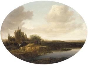Rivierlandschap met kasteel op linkeroever