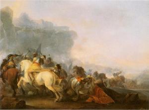 Ruitergevecht met pikhouwelen in een bergachtig landschap