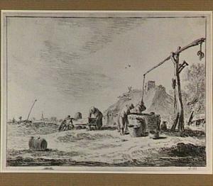 Boerderij met twee mannen bij een waterput en een vrouw bij een trog