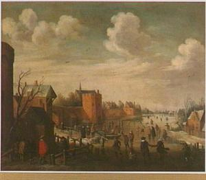 Utrecht, gezicht over de Stadsbuitengracht tussen Manenburg en Zonnenburg met de Servaastoren en de kerk van het Servaasklooster