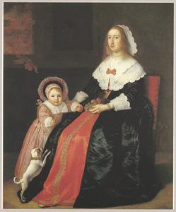 Portret van een vrouw en een jongen, mogelijk Margaretha Cloeck (1617-1680) en Pieter Hulft (1643-1694)