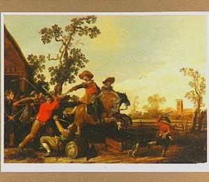 Vechtende ruiters en boeren voor een herberg
