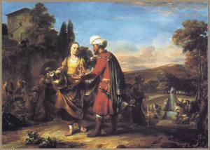 De ontmoeting van Rebecca en Eliziër (Genesis 24:11-21)