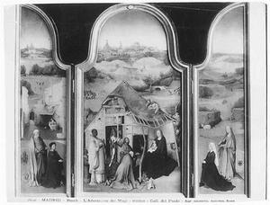 De H. Petrus met stichter (links), de aanbidding van de Wijzen (midden), de H. Agnes met stichtster (rechts) (Het Brochorst-Bosschuyse-drieluik)