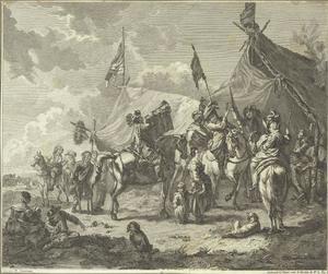 Soldaten bij een legerkamp