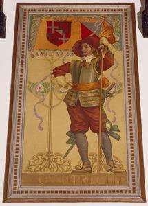 Schutter met vaandel voorzien van het wapen van de provincie Utrecht
