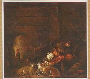 Stalinterieur met twee mensen bij een haardvuur