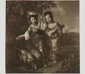 Portret van twee onbekende kinderen in pastorale kleding