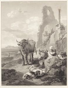 Herderin met vee in een Italianiserend landschap