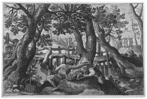 Heuvelachtig landschap met brug en liggende boerin belaagd door twee boeren