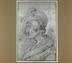 Kop van een man met hoed, en profil, naar links