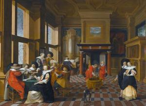 Elegant gezelschap in een interieur