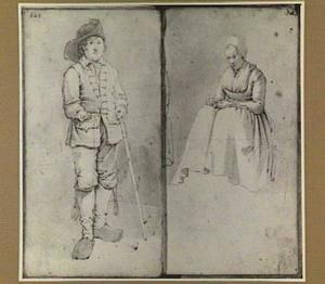 Staande jongen en zittende vrouw