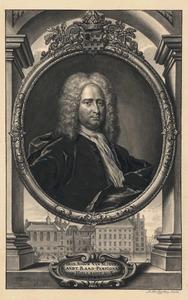 Portret van Simon van Slingelandt (1664-1736), met in de achtergrond het Binnenhof in Den Haag