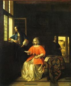 Brieflezende vrouw en een man bij een venster in een interieur