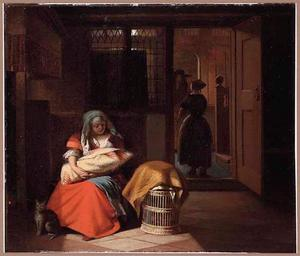 Interieur van een voorhuis met een jonge vrouw met een baby