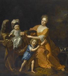 Familieportret van een onbekende vrouw met twee kinderen en een bediende