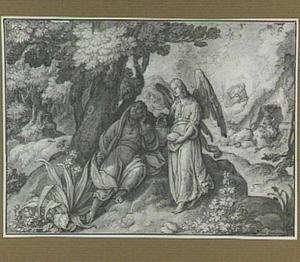 De profeet Elia gewekt door een engel op de berg Horeb; op de achtergrond spreekt God tot Elia in de grot (1 Koningen 19:5-18)