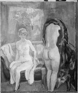 Zittend en staand vrouwelijk naakt in interieur (voorstudie)