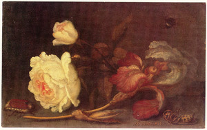 Stilleven met een roos en een iris
