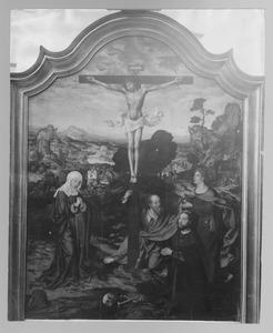 De kruisiging met Maria, Johannes de Doper, de H. Paulus en een stichter