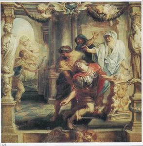 Achilles wordt in de tempel in  zijn hiel dodelijk getroffen door Paris