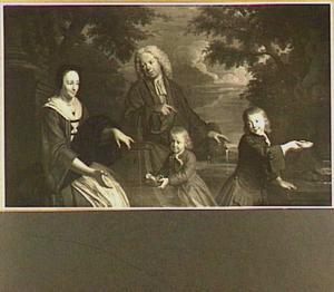 Familieportret van Gozewijn Centen (....-1744), Maria van de Rijp (....-1763) en hun kinderen Jan Centen en Job Rijp-Centen