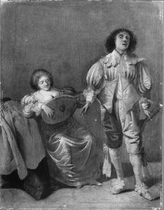 Jongeman zingt bij het luitspel van een vrouw