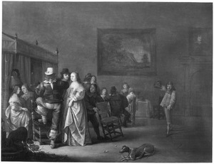 Elegant pratend gezelschap in een interieur