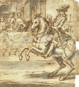 Portret van koning Karl XII (1682-1718) rijdend op een paard