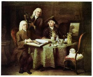 Portret van Jan Bisschop (1680-1771), Pieter Bisschop (1691-1758) en Olivier van Vlierden Hope (1731-1783)