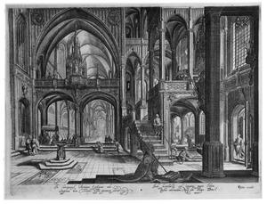 Kerkinterieur (volgens onderschrift het interieur van het Lateraan te Rome)