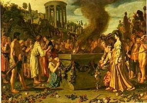 Orestes en Pylades discussiërend voor het offeraltaar