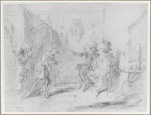 Arme man staande voor twee zittende Spaanse edelen, in een interieur