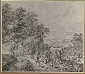 Heuvellandschap met rivier en marskramers