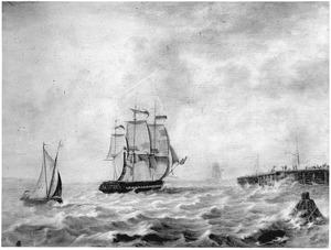 Het fregatschip Zr.Ms. 'IJssel' de haven van Hellevoetsluis binnenzeilend, 1815