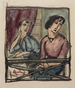 Twee vrouwen op een balkon