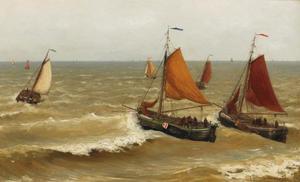 Bomschuiten in de golven voor de kust van Scheveningen