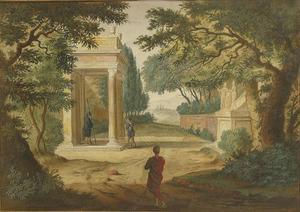 Arcadisch landschap met ruïne, klassieke architectuur en figuren